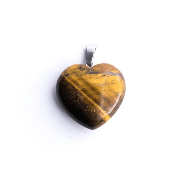 Milujeme Kameny - tygří oko tromlovaný kámen - přívěsek srdce